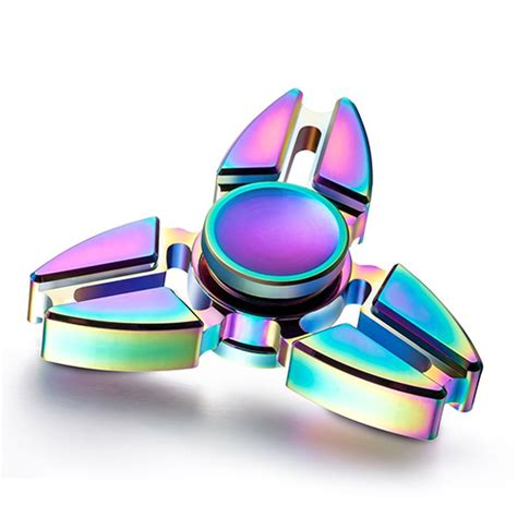 Fidget Spinner Rainbow triangle fidget spinner rainbow color tri angle aluminium