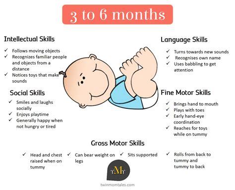 baby development chart babies development milestones from 3 to 6 months