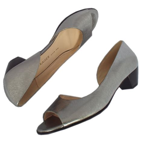 steel toe slippers kaiser itha low heel open toe shoes in brushed