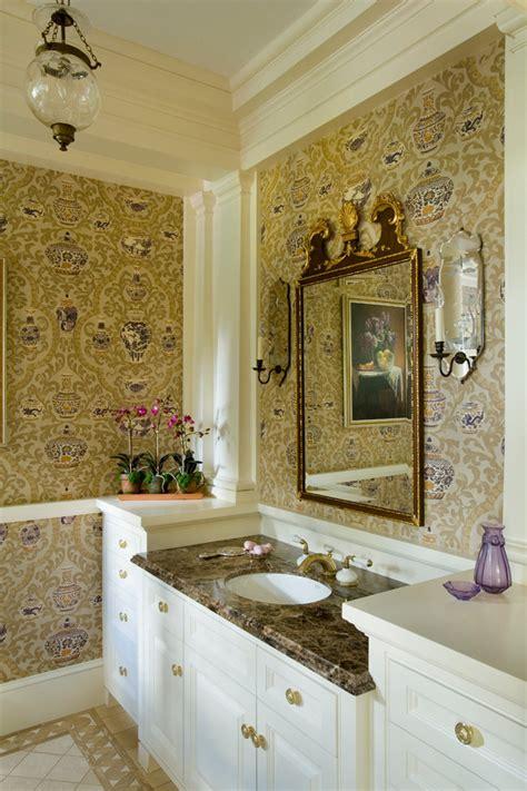 gold wallpaper in bathroom luxuriousbetterdecoratingbible
