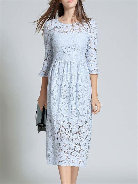 light blue midi flare sleeve lace midi dress in light blue l sammydress com
