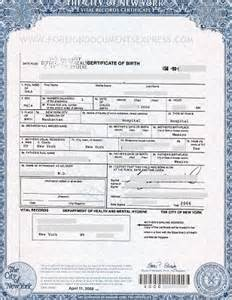 Birth Certificate New York Letter Of Exemplification Nyc Birth Certificates For Foreign Use