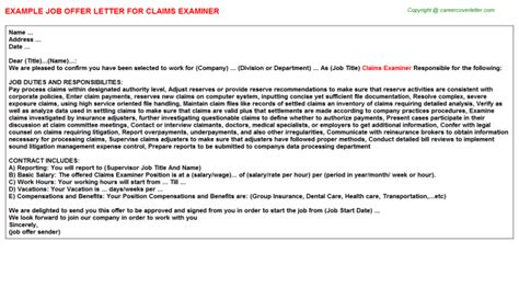 Claims Examiner Cover Letter by Claims Examiner Title Docs Descriptions And Duties