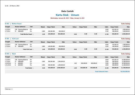 format kartu stok barang excel contoh laporan persediaan software zahir accounting