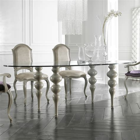 modern italian glass oval designer dining table set