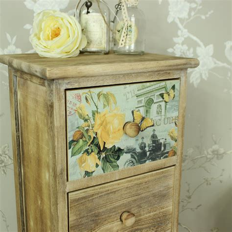 floral 5 drawer tallboy chest of drawers shabby vintage