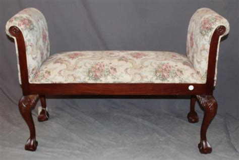 upholstered rolled arm bench floral upholstered backless bench with rolled arms