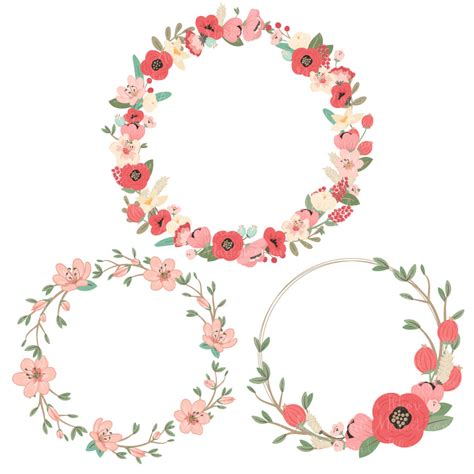 Flower Wreath Clipart mint coral pretty floral wreath clipart vectors