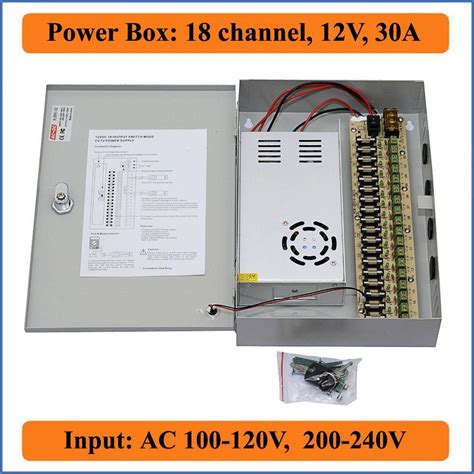 Pawer Suplay Box 5 A 4 Channel Kamera 18 port 12v 30a cctv power box 18ch channel switching power supply for 18ch dvr ip