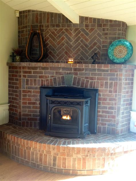 brick fireplace corner placement brick herringbone