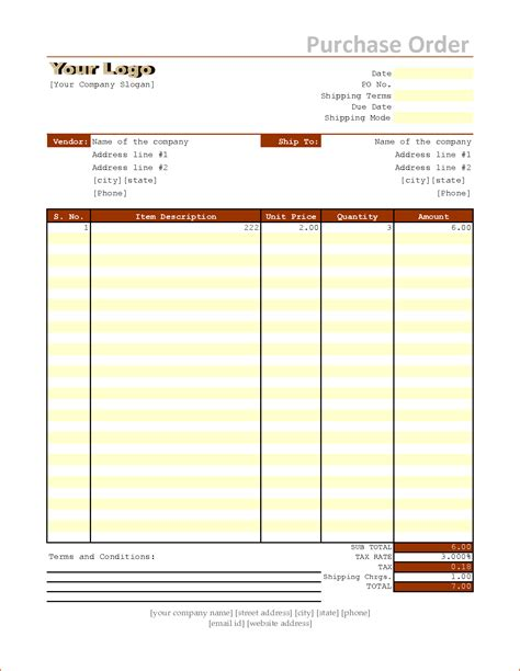 po excel template 6 purchase order template excel bookletemplate org