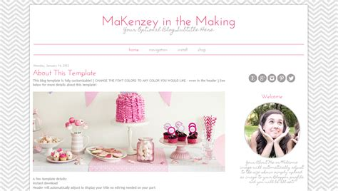 blog themes design modern blogspot template pink chevron design
