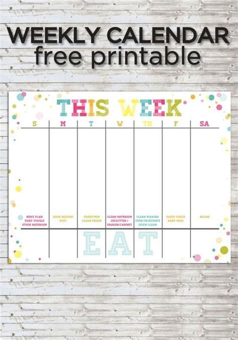 colorful weekly calendar printable weekly