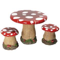 toadstool table and chairs toadstool cutness on pinterest mushrooms yarn bombing