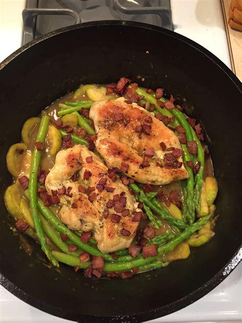 chicken asparagus and bacon skillet bigoven