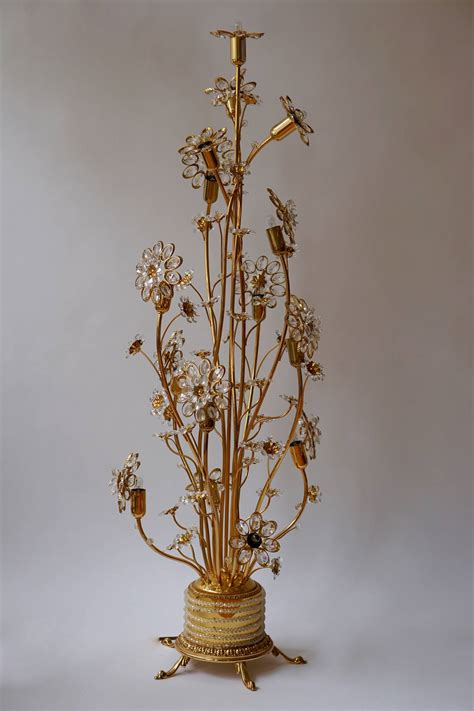 palwa gilded brass and glass flower floor l or