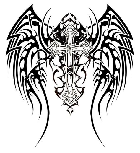 celtic cross with angel wings tattoo tattoos of crosses