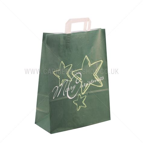 green star christmas carrier bags from carrier bag shop