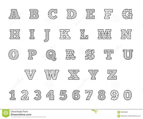 black  white thin  font linear alphabet