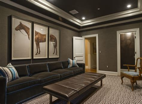 dark gray wall paint horse painting grey rug black sofa grey wall white door