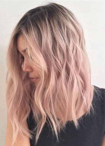 medium length hairstyles for straight hair rose gold layered bob 50 rose gold hair ideas herinterest com