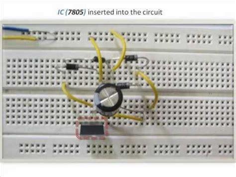 breadboard circuit of half wave rectifier rectifier circuit