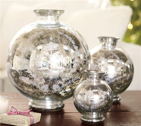 Mercury Glass Vases by Floral Etched Mercury Glass Vase Pottery Barn