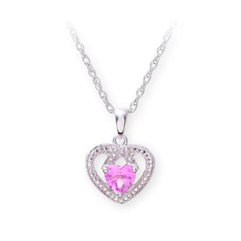 pink star necklace sterling silver necklace with pink sapphire gem stone