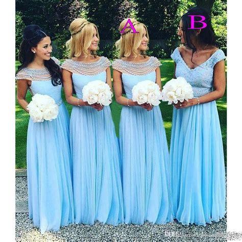 cheap light blue bridesmaid dresses 2017 light sky blue long bridesmaid dresses scoop vneck