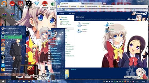 anime computer themes windows 7 charlotte windows 7 theme by hatsuanto windows 7 anime