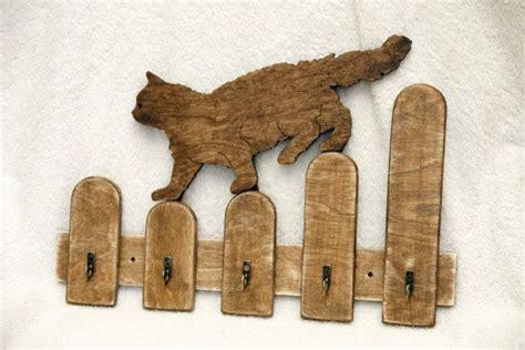 wooden key decor handmade cat shaped wooden key holder hooks wall mounted