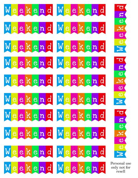 free printable weekend planner stickers free weekend banner printable fits a5 planners planner