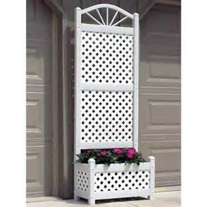 lattice planter with trellis dura trel 6 5 foot outdoor rectangle vinyl sunburst