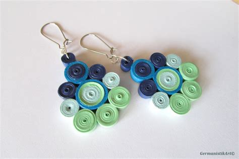 Paper Quilling Earrings - geometric blue green dangle paper earrings diy quilled paper