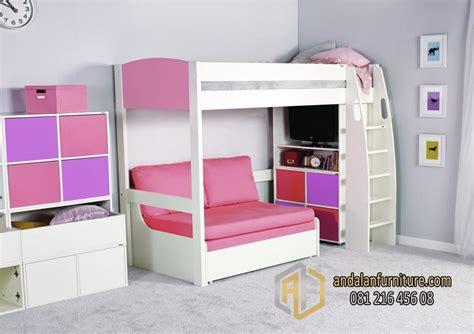 Sofa Plus Tempat Tidur tempat tidur tingkat anak kembar perempuan minimalis bunkbed furniture jepara klasik perabot