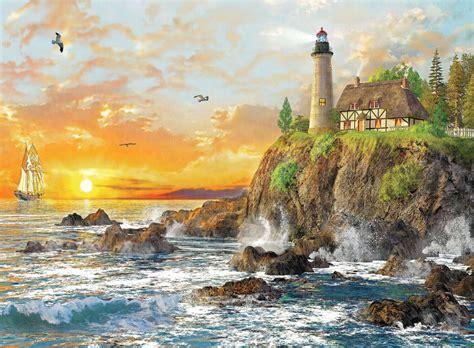 Jigsaw Puzzle Sunset On Llight 1000 sunset by the rocky coast jigsaw puzzle puzzlewarehouse