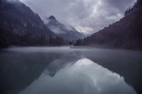 photo mountains lake mist fog nature