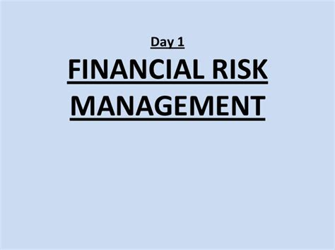 Financial Risk Management Mba Ou by Financial Risk Management Strategies