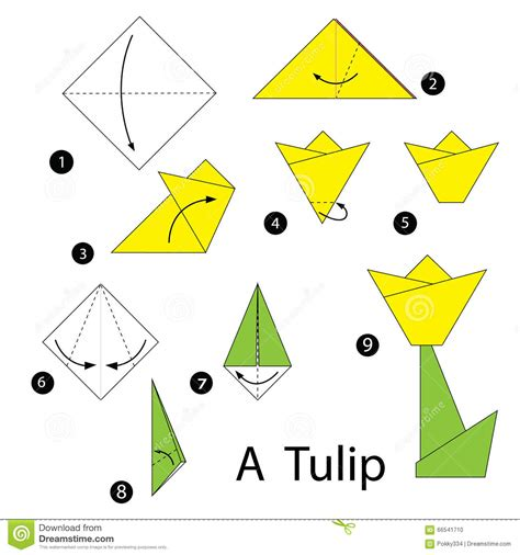Tulip Origami Step By Step - step by step how to make origami tulip stock