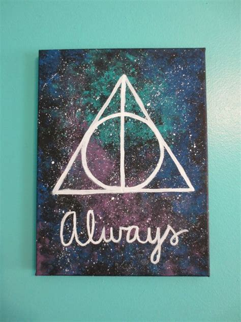 harry potter painting harry potter deathly hallows quot always quot galaxy painting