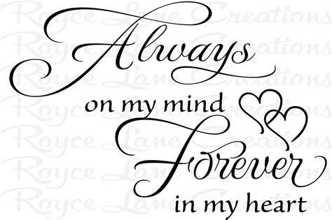 always on my mind forever in my heart tattoo bedroom wall decal always on my mind forever in my