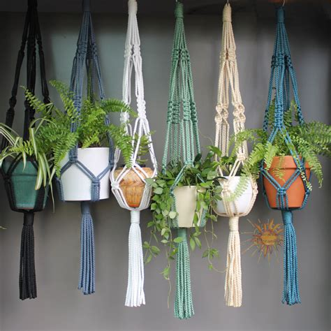 How To Macrame A Plant Holder - macram 233 plant hangers in assorted neutral colours