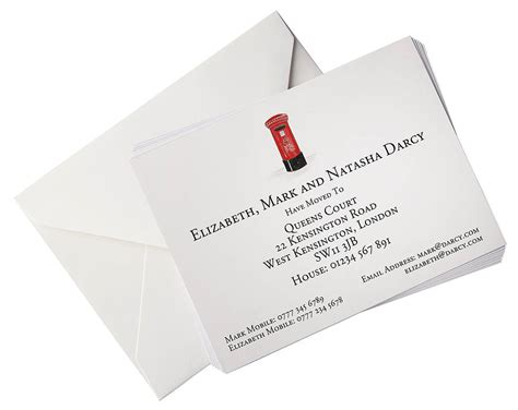 illustrated change of address cards with gift box by honey