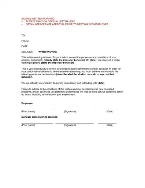 Memo Template For Employees sle disciplinary letter for excessive tardiness