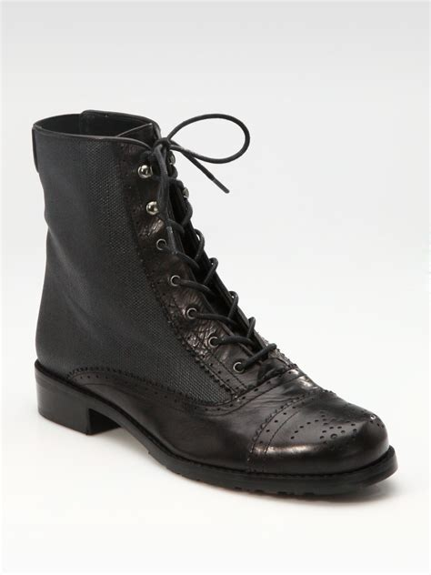 stuart weitzman leather waxed canvas lace up ankle boots