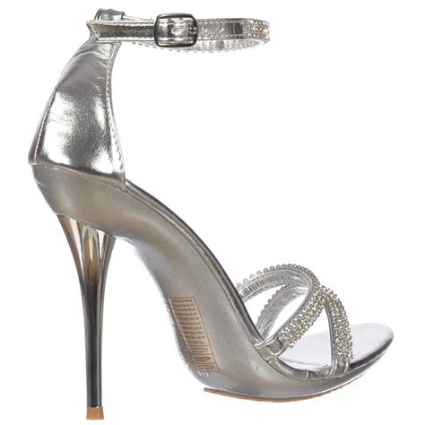 silver high heels with ankle onlineshoe diamante ankle high heel stiletto