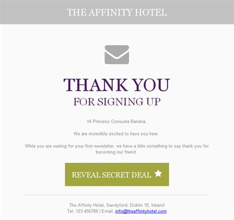 Thank You For Signing Up Email Template Killer Copywriting Tips For Email Marketing For Hoteliers Net Affinity Blog Net Affinity Blog