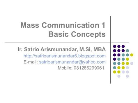 Mba Basic Concepts by Mass Communication 01 Basic Concepts