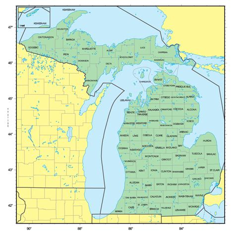 america map michigan detailed administrative map of michigan state vidiani