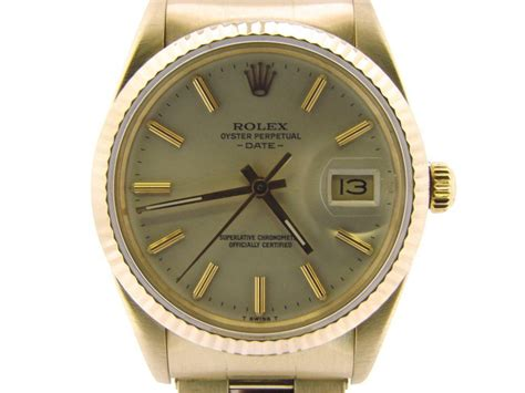 mens rolex date solid 14k yellow gold w silver ad